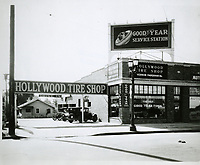 1929 Hollywood Tire Shop at 6472 Sunset Blvd. before Vern Farquhar's Wilcox Ave. location was built.