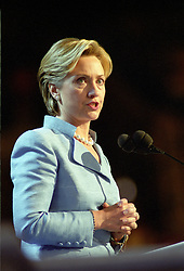 First lady Hillary Rodham Clinton, a candidate for the United States Senate from the State of New York, speaks on the opening night of the 2000 Democratic National Convention in Los Angeles, California, Monday, August 14, 2000. Photo by Ron Sachs/CNP/ABACAPRESS.COM