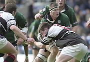 Sport - Rugby 27/04/2002 Parker Pen Shield - Semi-Final<br />London Irish vs Pontypridd - Kassam Stadium - Oxford<br />Exiles Captain, Ryan Strudwick, is held up by Michael Owen