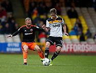 Matt Done of Sheffield Utd in action with Sam Foley of Port Vale during the English League One match at Vale Park Stadium, Port Vale. Picture date: April 14th 2017. Pic credit should read: Simon Bellis/Sportimage