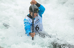 Miquel Trave of Spain competes during the Canoe Single (C1) men race in Semifinal of European Open Canoe Slalom Cup on April 18, 2021 in Tacen, Ljubljana, Slovenia. Photo by Vid Ponikvar / Sportida