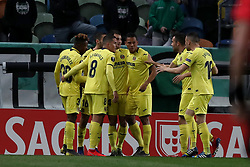 February 14, 2019 - Lisbon, Portugal - Villarreal's defender Alfonso Pedraza celebrates with teammates after scoring during the UEFA Europa League Round of 32 First Leg football match Sporting CP vs Villarreal CF at Alvalade stadium in Lisbon, Portugal on February 14, 2019. (Credit Image: © Pedro Fiuza/NurPhoto via ZUMA Press)