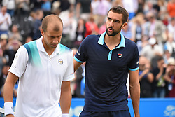June 24, 2017 - London, England, United Kingdom - Marin Cilic of Croatia (R) salutes Gilles Muller of Luxembourg after winning the semi final of AEGON Championships at Queen's Club, London, on June 24, 2017. (Credit Image: © Alberto Pezzali/NurPhoto via ZUMA Press)
