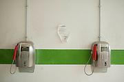 Una postazione telefonica dove i trattenuti possono effettuare chiamate all'interno del CIE di Gradisca.<br /> Gradisca d'Isonzo (GO) ,10 settembre 2013. Daniele Stefanini /  Oneshot