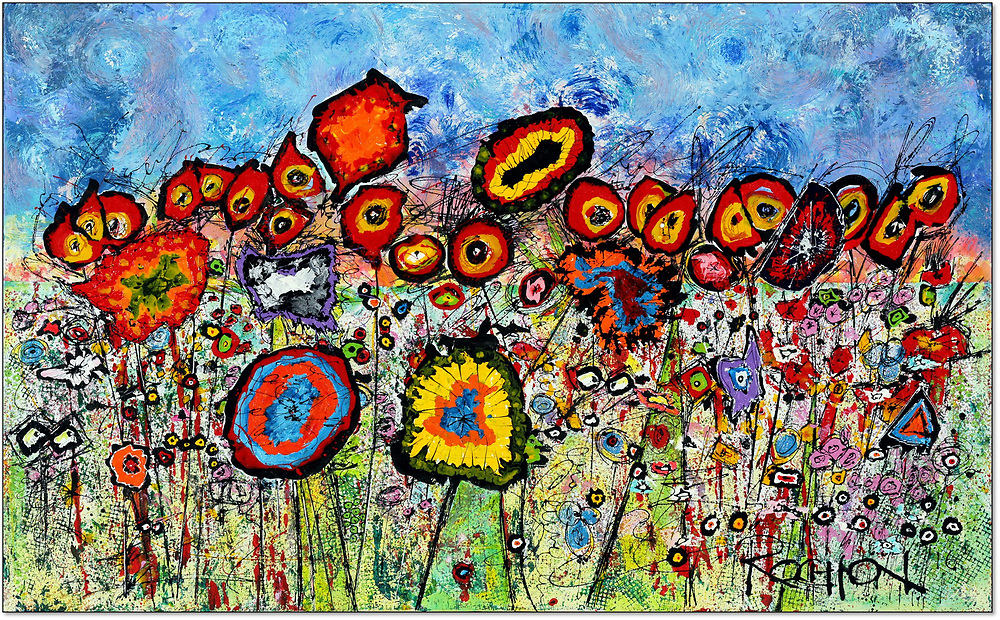 """'WILDflowers,' 30"""" x 48,"""" Acrylic on Ink on Canvas, 2017. See (Price and Availability). <br /> <br /> One of my most popular pieces.<br /> Occasionally, not my usual painting style, these little critters show up and demand that they be given life, allowed to come together and play. Who am I to deny them this opportunity. They each have their own personalities. They want to sing and dance and celebrate life.<br /> <br /> Many things going on in this painting - you can gaze for quite awhile and not see all there is to see - playful and relaxing or tormenting - guess it all depends on where your head is at. A great deal of detail.<br /> <br /> I'd mentioned that this painting is 'not my usual style.' A word about that.<br /> I allow, always have, the blank canvas to dictate what will appear. This frustrates the hell out of me sometimes, when I have different intentions, but to not allow the work to go where it must, would be to allow myself to be dishonest. <br /> <br /> How can I be truly creative if I can't be free to totally change directions from painting to painting. I've completely changed style in the middle of a painting - Why Not! The painting style is, in my opinion, secondary to the story I am trying to tell. It's just paint. I try not to take things to seriously or my work will tighten up and be less interesting and bound up. I hope you find it interesting as well.<br /> <br /> Enjoy.<br /> <br /> NOTE: Frames are custom made for my paintings with extra wide space for floating the canvas to accentuate the artwork. I've also added a small inner wood trim recessed within the recess to add a small accent."""