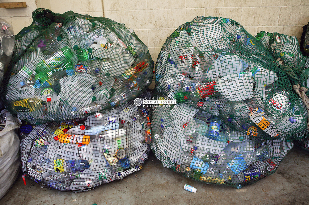 Bags of plastic bottles ready to be recycled,