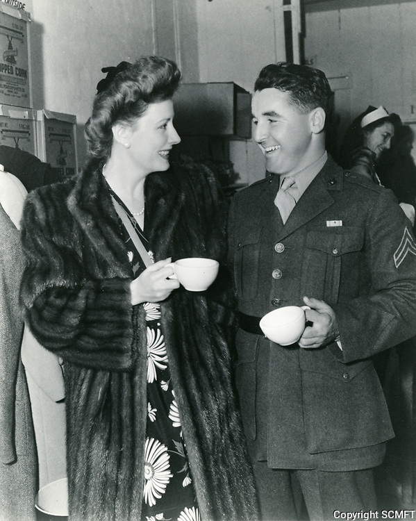 1943 Irene Dunne and soldier at the Hollywood Canteen
