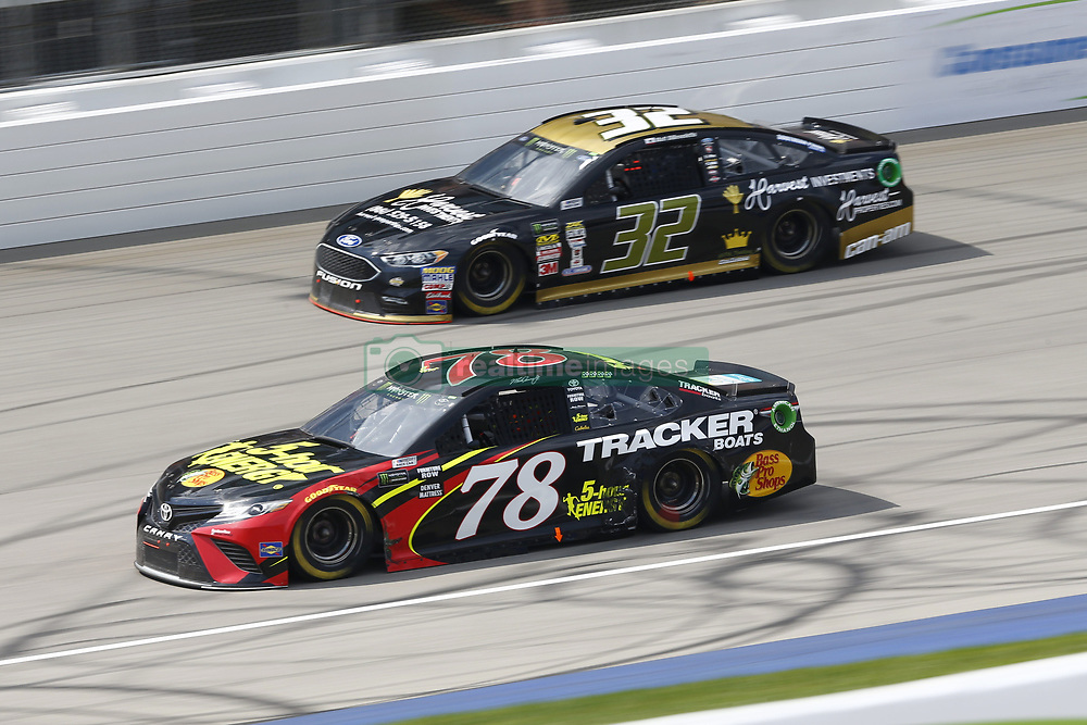 August 12, 2018 - Brooklyn, Michigan, United States of America - Martin Truex, Jr (78) and Matt DiBenedetto (32) battle for position during the Consumers Energy 400 at Michigan International Speedway in Brooklyn, Michigan. (Credit Image: © Chris Owens Asp Inc/ASP via ZUMA Wire)