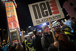 """10 December 2017, Oslo, Norway: In the evening of 10 December some 4,000 people from around the world gathered in central Oslo for a torch light march for peace. The event took place after the Nobel Peace Prize award 2017, awarded to the International Campaign to Abolish Nuclear Weapons (ICAN), for """"its work to draw attention to the catastrophic humanitarian consequences of any use of nuclear weapons and for its ground-breaking efforts to achieve a treaty-based prohibition of such weapons"""". Among the crowd were more than 20 """"Hibakusha"""", survivors of the atomic bombings in Hiroshima and Nagasaki, as well as a range of activists, faith-based organizations and others who work or support work for peace, in one or another way. Here, Kerje Vindenes from """"No to Nuclear Weapons"""", one of the partners in ICAN. Vindenes has been active in the organization since the 80s, and he explains that through the 80s and the 90s, they were instrumental in mobilizing people across Norway against nuclear weapons."""