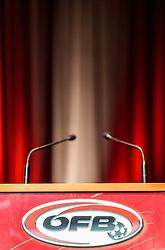 18.06.2017, Ferry Porsche Congress Center, Zell am See, AUT, OeFB, Ordentliche Hauptversammlung, im Bild leeres Rednerpult mit ÖFB Logo und Österreich Farben // during the Annual General Meeting of the Austrian Football Association (OeFB) at the Ferry Porsche Congress Center in Zell am See, Austria on 2017/06/18. EXPA Pictures © 2017, PhotoCredit: EXPA/ JFK