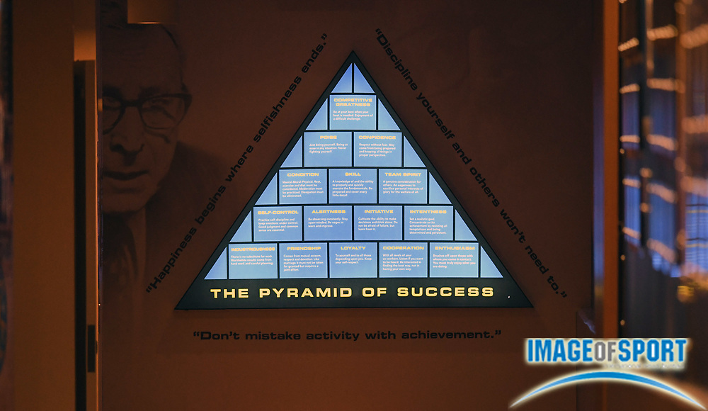 Pyramid of Success by UCLA Bruins basketball coach John Wooden at Pauley Pavilion in Los Angeles, Tuesday, May 1, 2018.