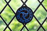 Stained glass window Medieval fragments, Brettenham, Suffolk, England, UK