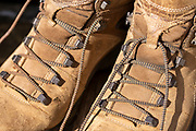 ecco brand men's leather walking boots close-up