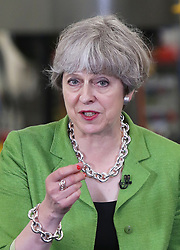 Prime Minister Theresa May speaks during a General Election campaign visit to Cross Manufacturing in Odd Down, near Bath in Somerset.
