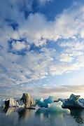 Icebergs on a summer's evening at Jökulsárlón glacier lagoon, Iceland