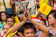 01 AUGUST 2013 - BANGKOK, THAILAND: A Thai man holds up a photo of Bhumibol Adulyadej, the King of Thailand, in front of Siriraj Hospital before the King left the hospital Thursday. The King, 85, was discharged from Bangkok's Siriraj Hospital, where he has lived since September 2009. He traveled to his residence in the seaside town of Hua Hin, about two hours drive south of Bangkok, with his wife, 80-year-old Queen Sirikit, who has also been treated in the hospital for a year.      PHOTO BY JACK KURTZ