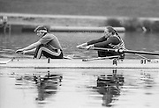 Staines, GREAT BRITAIN,   <br /> GBR W2-. Stroke Sue SMITH and <br /> British Rowing Women's Heavy Weight Assessment. Thorpe Park. Sunday 21.02.1988,<br /> <br /> [Mandatory Credit, Peter Spurrier / Intersport-images] 1987 GBR Women's H/Weight Assesment Thorpe Park, Surrey.UK