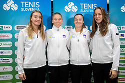 Nina Potocnik, Nika Radisic, Dalila Jakupovic and Kaja Juvan  during press conference of Slovenia Fed Cup tennis team, on January 31, 2019 in Telemach shop, TUS centre, BTC, Ljubljana, Slovenia. Photo by Vid Ponikvar / Sportida