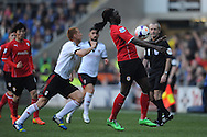 Cardiff City's Kenwyne Jones controls the ball on his chest during the Barclays Premier league, Cardiff city v Fulham at the Cardiff city Stadium in Cardiff , South Wales on Sat 8th March 2014. pic by Jeff Thomas/Andrew Orchard sports photography