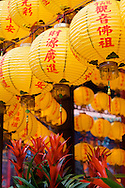 A row of Chinese lanterns hang at Lungshan Temple in Taipei, Taiwan.