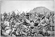 Charge of the 5th Lancers at the Battle of Elandslaagte. After drawing by R. Caton Woodville. Boer War.