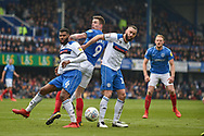 Portsmouth Forward, Oliver Hawkins (9) wins a header during the EFL Sky Bet League 1 match between Portsmouth and Rochdale at Fratton Park, Portsmouth, England on 13 April 2019.