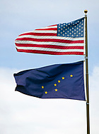Flags of the United States and the State of Alaska. <br /> <br /> Photographer: Christina Sjögren<br /> <br /> Copyright 2019, All Rights Reserved