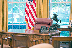 Very high resolution view of the newly renovated interior of the Oval Office in the White House in Washington, DC, USA, on Tuesday, August 22, 2017. Photo by Ron Sachs/CNP/ABACAPRESS.COM