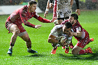 Rugby Union - 2019 / 2020 European Rugby Challenge Cup - Pool Two: Scarlets vs. Toulon<br /> <br /> Julien Ory,of Toulon scores a try , but it is disallowed by the two , at Parc y Scarlets, Llanelli.<br /> <br /> COLORSPORT/WINSTON BYNORTH