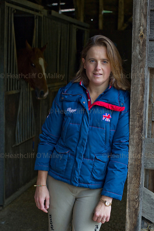 May0026518 . Daily Telegraph..Equestrian sportswoman Pippa Funnell , the first woman to become Eventing's world number one, photographed at her home and stables in Surrey....Surrey 15 October 2010