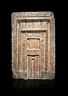 Ancient Egyptian False Door stele of Chamberlain Hornakht, son of Mera, slimestone, Middle Kingdom, 12th Dynasty (1939-1759 BC),  Egyptian Museum, Turin. Old fund cat 1612. Black background<br /> <br /> A false door is an artistic representation of a door which does not function like a real door. They can be carved in a wall or painted on it. They are a common architectural element in the tombs of ancient Egypt, .<br /> <br /> If you prefer to buy from our ALAMY PHOTO LIBRARY  Collection visit : https://www.alamy.com/portfolio/paul-williams-funkystock/ancient-egyptian-art-artefacts.html  . Type -   Turin   - into the LOWER SEARCH WITHIN GALLERY box. Refine search by adding background colour, subject etc<br /> <br /> Visit our ANCIENT WORLD PHOTO COLLECTIONS for more photos to download or buy as wall art prints https://funkystock.photoshelter.com/gallery-collection/Ancient-World-Art-Antiquities-Historic-Sites-Pictures-Images-of/C00006u26yqSkDOM