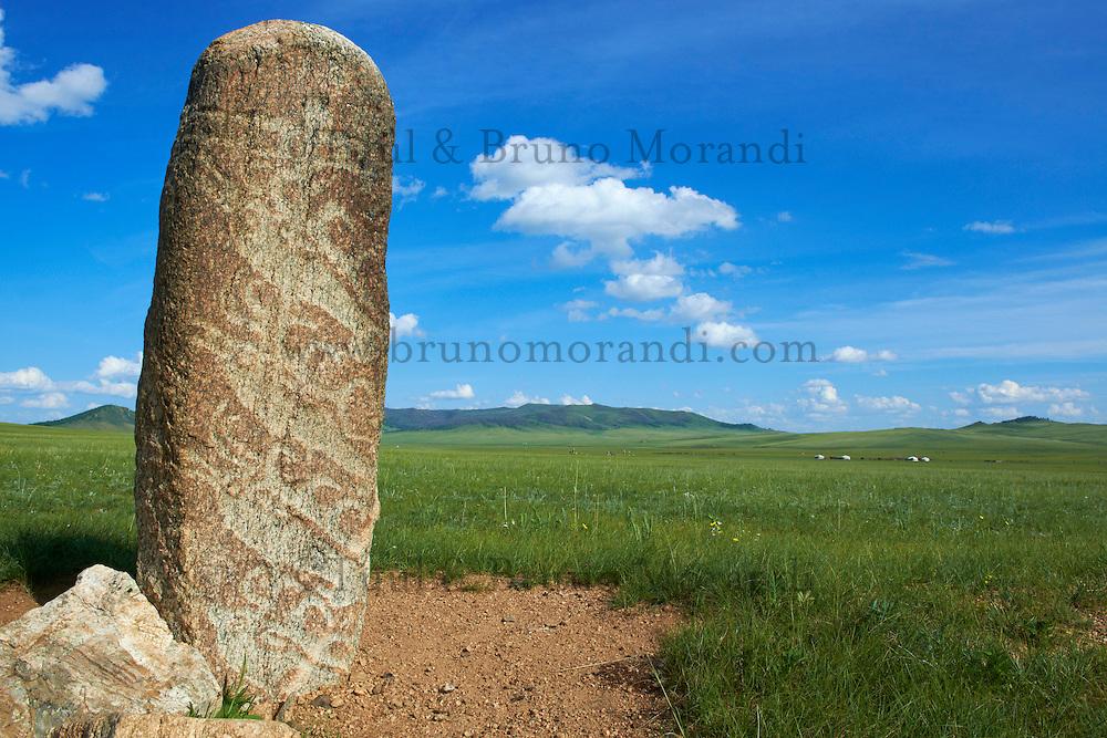 Mongolie, Province du Khentii, stele a cerf dans la region de Binder // Mongolia, Khentii province, Archaeological stele with deer carving