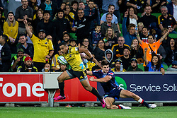 March 30, 2018 - Melbourne, VIC, U.S. - MELBOURNE, AUSTRALIA - MARCH 30 : Ngani Laumape of the Wellington Hurricanes  shrugs of a tackle during Round 7 of the Super Rugby Series between the Melbourne Rebels and the Wellington Hurricanes on March 30, 2018, at AAMI Park in Melbourne, Australia. (Photo by Jason Heidrich/Icon Sportswire) (Credit Image: © Jason Heidrich/Icon SMI via ZUMA Press)