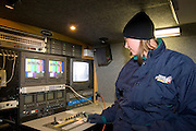 "Iowa USA, IA. Sioux City, A ""Channel 4"" (NBC) news crew mobile control room, covering the ""Downtown for the Holidays"" parade November 2006"