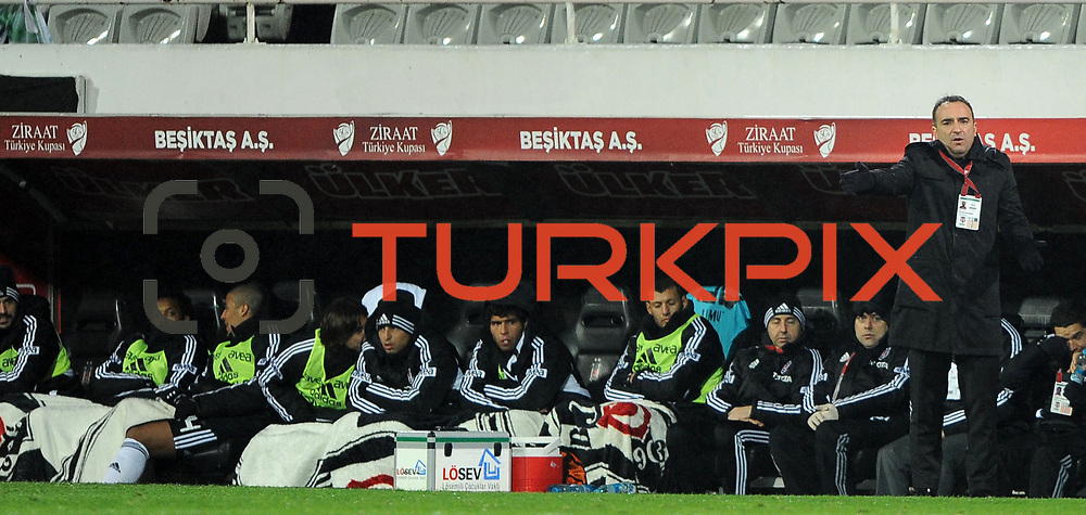 Besiktas's coach Carlos Carvalhal (R) during their Turkey Cup matchday 3 soccer match Besiktas between Gaziantepspor BSB at the Inonu stadium in Istanbul Turkey on Wednesday 11 January 2012. Photo by TURKPIX