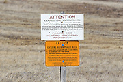 Signs at Buffalo Gap National Grasslands alert visitors to the presence of endangered Black-footed ferrets, and sylvatic plague.