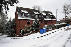 Poor roof insulation on these houses, Norwich Feb 2018 UK
