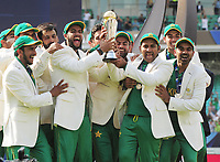 Cricket - 2017 ICC Champions Trophy - Final: Pakistan vs. India<br /> <br /> Safraz Ahmed (captain - right) and the Pakistan team celebrate with the trophy at the Kia Oval.<br /> <br /> COLORSPORT/ANDREW COWIE