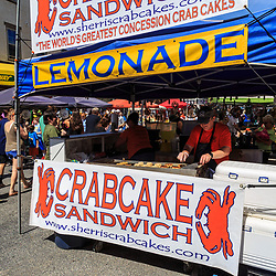 Mechanicsburg, PA, USA - June 21, 2018: Crab Cake Sandwiches are offered for sale at the Jubilee Day, the largest, longest running, one-day street fair on the East Coast.