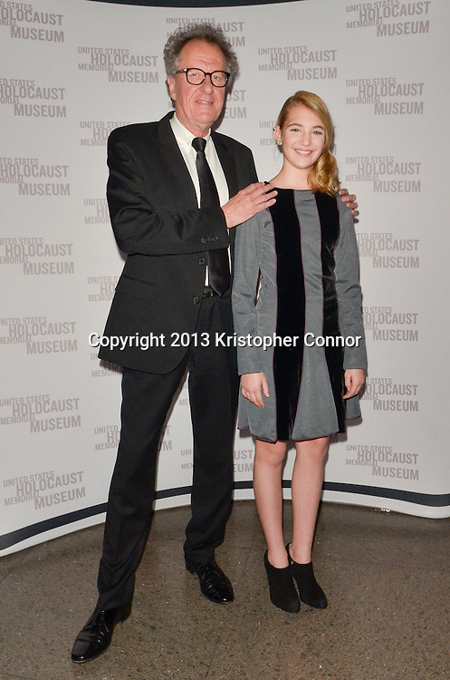 """WASHINGTON, DC - NOVEMBER 7: Actors Geoffrey Rush and Sophie Nelisse attend the premiere of """"The Book Thief,"""" sponsored by the US Holocaust Museum at the United States Holocaust Memorial Museum on November 7, 2013 in Washington, DC. (Photo by Kris Connor/20th Century Fox)"""