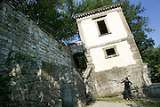 Park of the Monsters (1552). Tilted house. Devised by the architect Pirro Ligorio on commission of Prince Pier Franceso Orsini, called Vicino, to vent the Prince's broken heart at the death of his wife Giulia Farnese. Bomarzo, Italy. MODEL RELEASED..