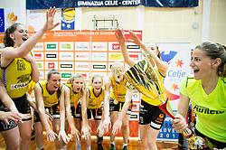 Maja Erkic of Athlete Celje and other players celebrate after winning during basketball match between ZKK Athlete Celje and ZKK Triglav in Finals of 1. SKL for Women 2014/15, on April 20, 2015 in Gimnazija Celje Center, Celje, Slovenia. ZKK Athlete Celje became Slovenian National Champion 2015. Photo by Vid Ponikvar / Sportida