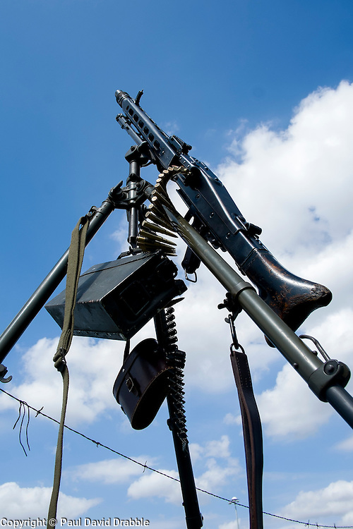 German MG42 and ammunition belt mounted on a tripod in the anti aircraft roll. <br /> <br />  August 2015<br />  Image © Paul David Drabble <br />  www.pauldaviddrabble.co.uk