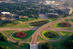 Aerial of the Memorial Drive and Waugh Drive intersection in Houston Texas