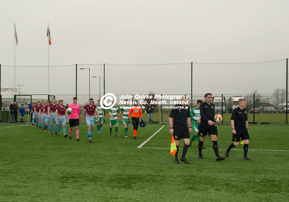 24-11-19. Parkvilla v Trim Celtic - NEFL Challenge Cup Semi-Final at the Grounds MDL, Navan.<br /> Match Officials leading Trim Celtic and Parkvilla squads on to the pitch.<br /> Photo: John Quirke / www.quirke.ie<br /> ©John Quirke Photography, Unit 17, Blackcastle Shopping Cte. Navan. Co. Meath. 046-9079044 / 087-2579454.