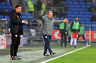 Cardiff City manager Neil Warnock shows his frustration at the referee Tony Harrington (out of shot) after a decision goes against his team. EFL Skybet championship match, Cardiff city v Barnsley at the Cardiff city stadium in Cardiff, South Wales on Saturday 17th December 2016.<br /> pic by Carl Robertson, Andrew Orchard sports photography.
