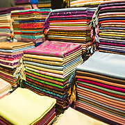 Colorful silk and cashmere scarves for sale at one of the thousands of shops in Istanbul's famous Grand Bazaar.
