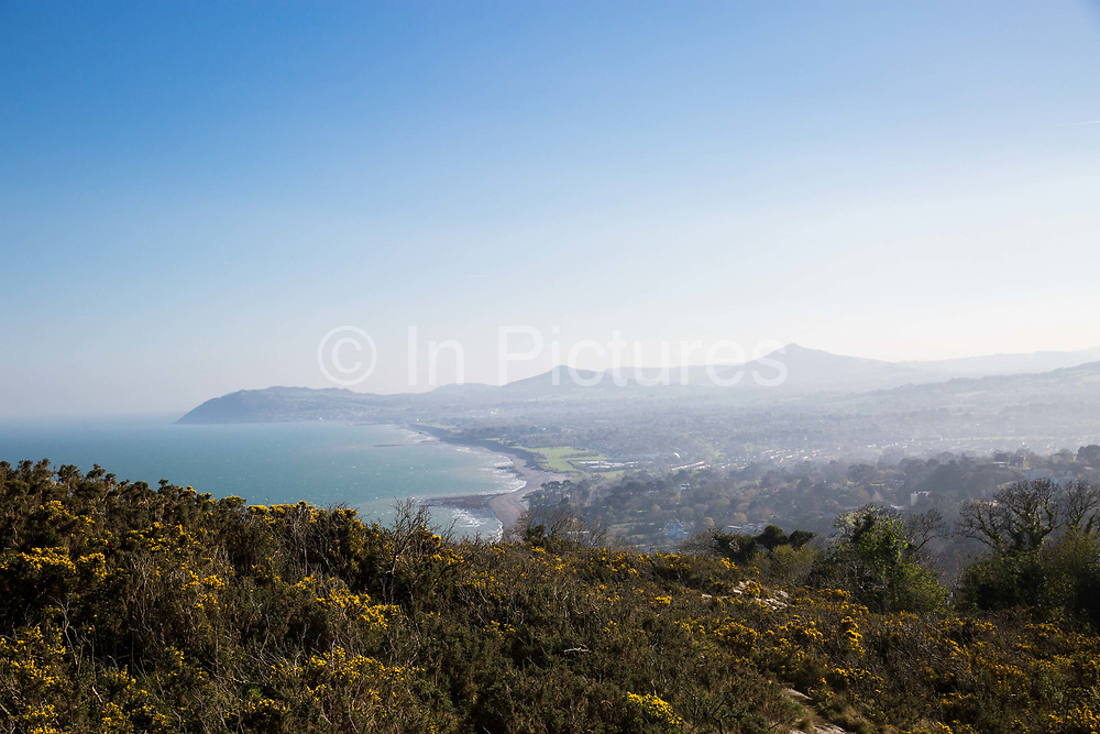 Views from Killiney Hill Park, overlooking Whiterock Beach, on 08th April 2017 in County Dublin, Republic of Ireland. Killiney Hill is the southernmost of two hills which form the southern boundary of Dublin Bay.