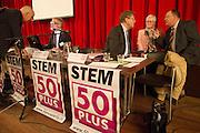 Leden praten met lijsttrekker Henk Krol (derde rechts). In Hilversum houdt de 50Plus partij haar verkiezingscongres. Tijdens het partijcongres wordt Henk Krol gekozen tot de lijsttrekker. Jan Nagel is de partijvoorzitter. <br /> <br /> Members are talking with Henk Krol (3rd right). The 50Plus party, a political party aiming mostly at the people of 50 years and older, is having its congress in Hilversum. Henk Krol, former chief editor of the Gaykrant, is elected as leader. Jan Nagel is the chairman.