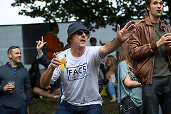 © Licensed to London News Pictures . 01/07/2017 . Manchester , UK . Crowds enjoying the DJ sets ahead of the main act . Hacienda Classical play at the Castlefield Bowl as part of Sounds of the City , during the Manchester International Festival . A collaboration between DJs Mike Pickering and Graeme Park and the Manchester Camerata orchestra , Hacienda Classical reworks music by bands including the Happy Mondays and New Order and features Manchester musicians including Rowetta and Peter Hook . Photo credit : Joel Goodman/LNP